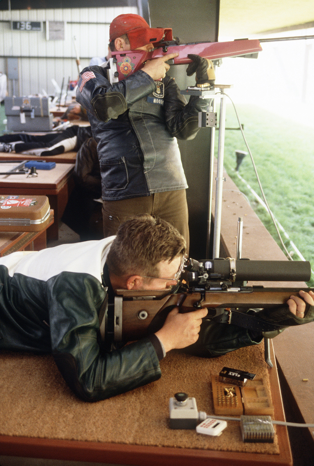 MASTER Sergeant (MSGT) Lynn Links, 64th Fighter Training Wing, Reese Air Force Base, Texas, and Major (MAJ) Howard Moody, Headquarters Tactical Air Command, Langley Air Force Base, Virginia, compete as members of the Air Force shooting team in the qualifications for the 1984 23rd Summer Olympics Shooting Team