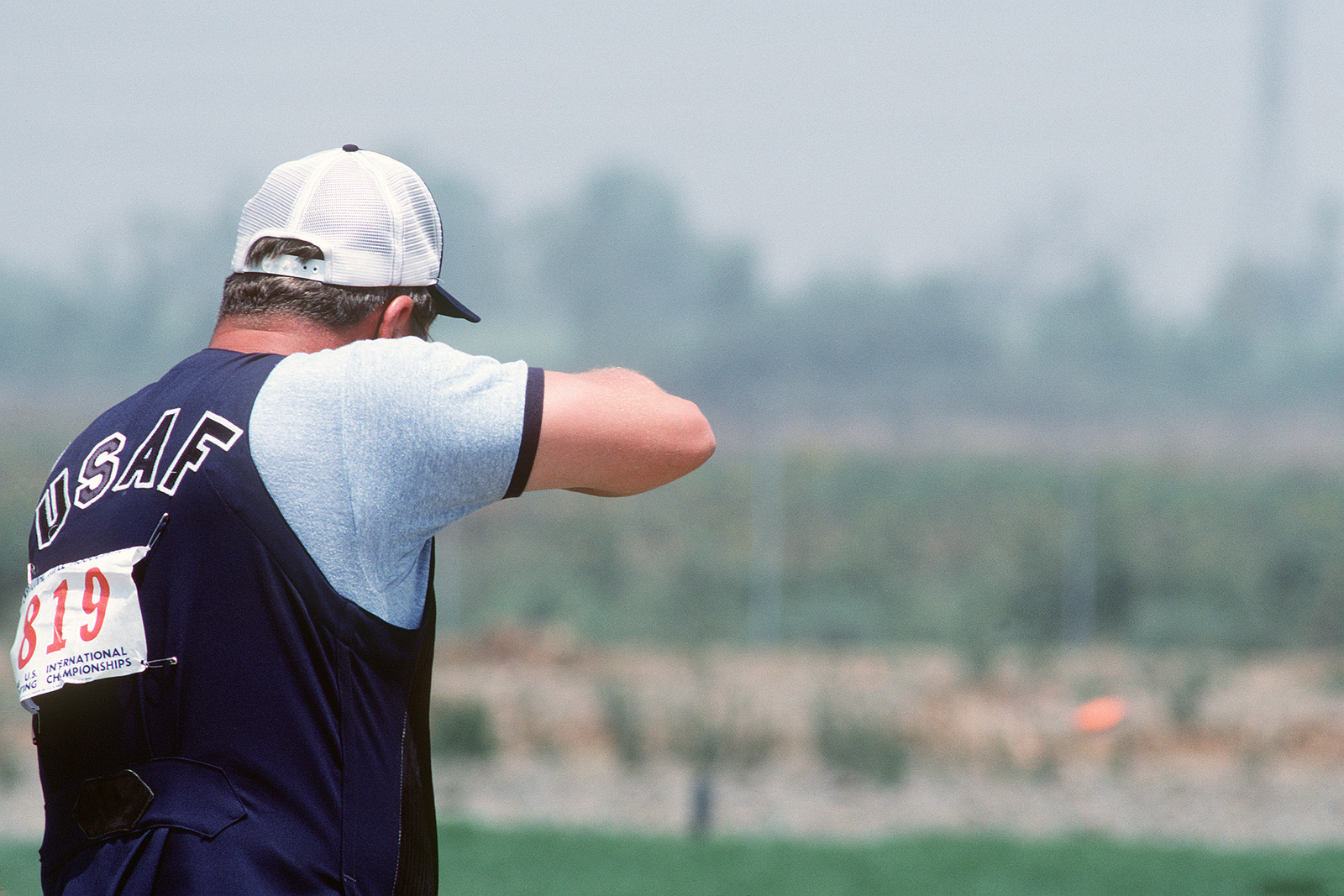 SENIOR MASTER Sergeant (SMSGT) Terry Howard, 24th Weather Squadron, Randolph Air Force Base, Texas, competes as a member of the Air Force shooting team in the qualifications for the 1984 23rd Summer Olympics Shooting Team. A member of the 1980 Olympic Shooting Team, he is a top entrant in the trap clay target shooting event