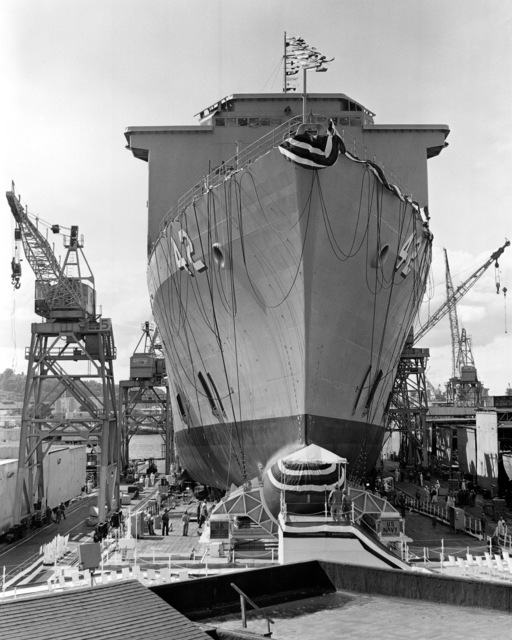 A bow view of the dock landing ship USS GERMANTOWN (LSD 42) on the ways as work crews prepare it for launching