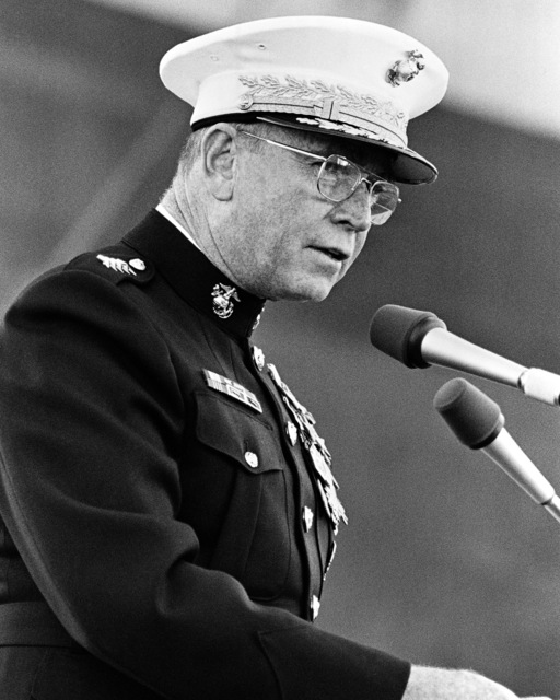 General P. X. Kelley, Commandant of the Marine Corps, delivers the principal speakers address during the launching ceremony for the dock landing ship USS GERMANTOWN (LSD 42)