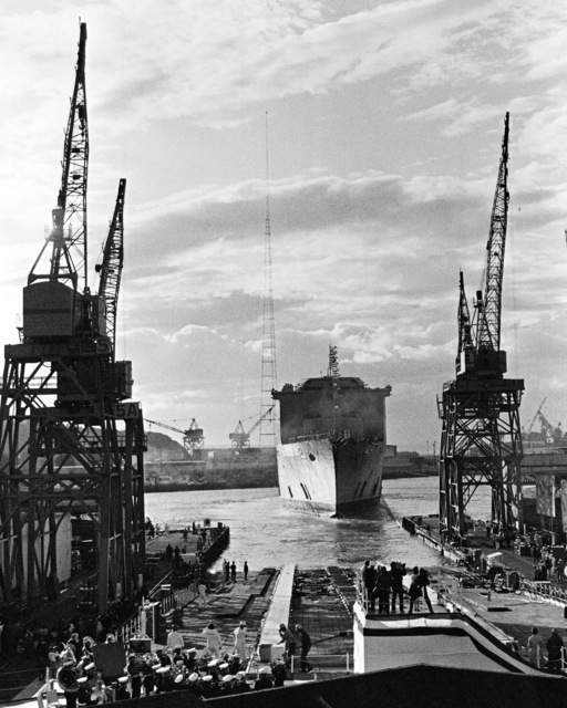 The dock landing ship USS GERMANTOWN (LSD 42) floats in the Duwamish River during its launching ceremony