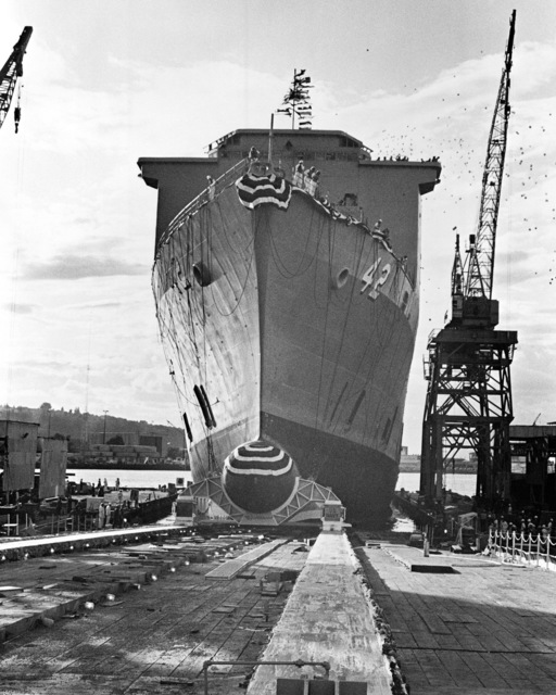 The dock landing ship USS GERMANTOWN (LSD 42) slides down the ways into the Duwamish River during its launching ceremony