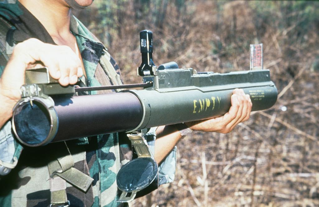 A Marine holds an M72A2 light antitank weapon (LAW)