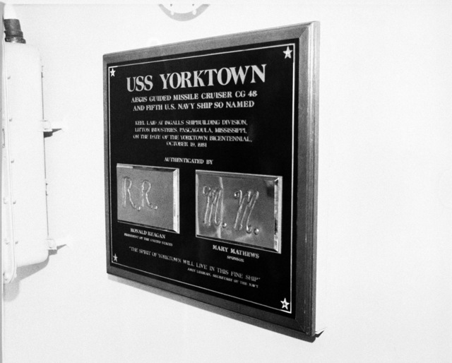 The ship's data plaque for the Ticonderoga class Aegis guided missile cruiser USS YORKTOWN (CG 48)
