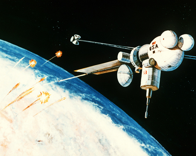 An artist's concept of the interception and destruction of nuclear-armed re-entry vehicles by a space-based electromagnetic railgun. The LTV Aerospace and Defense Co. has demonstrated hypervelocity launch technology in the laboratory that is applicable to a ballistic missile defense system