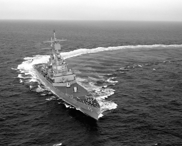 Aerial starboard bow view of the Virginia class nuclear-powered guided missile cruiser USS MISSISSIPPI (CGN 40) underway