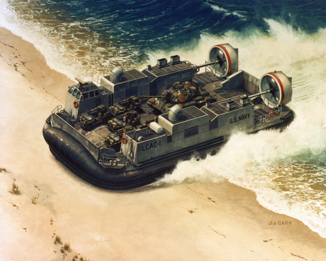 An artist's concept, by J. J. Carr, of a landing craft air cushion (LCAC) landing on a beach. Riding on a cushion of air held beneath its hull by flexible skirts, the LCAC can deliver a 60 to 75-ton payload to a dry landing over most tides, water depths, underwater obstacles and beach gradients. The craft has a range of about 200 miles, and is 88 feet long, 47 feet wide and 23 feet high