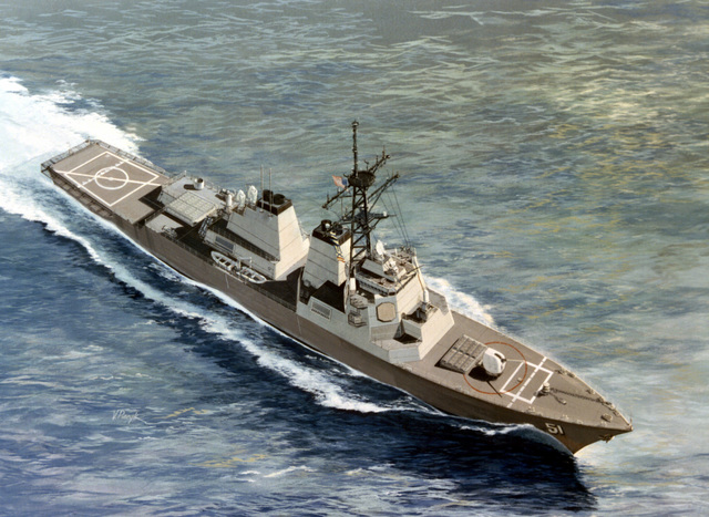 An artist's concept, by Vincent Piecyk, of an ARLEIGH BURKE Class guided missile destroyer (DDG-51) planned for delivery to the Navy in 1989. Planned armament includes two quadruple Harpoon launch canisters, Tomahawk cruise missiles, Standard-ER (SM-2) missiles in two vertical launch systems, two triple Mark 32 ASW torpedo tubes, a Mark 45 gun mount, and two Phalanx 20mm CIW's