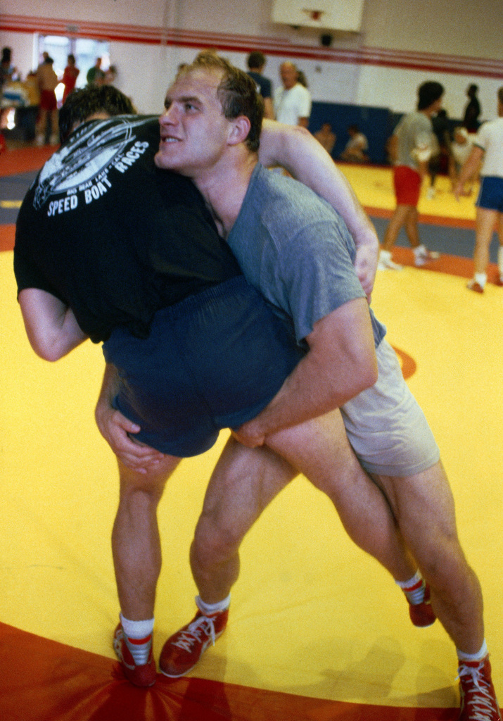 Army 2nd Lieutenant Ludwig D. Banach from West Point, New York, participates in the wrestling competition at the 1984 Summer Olympics