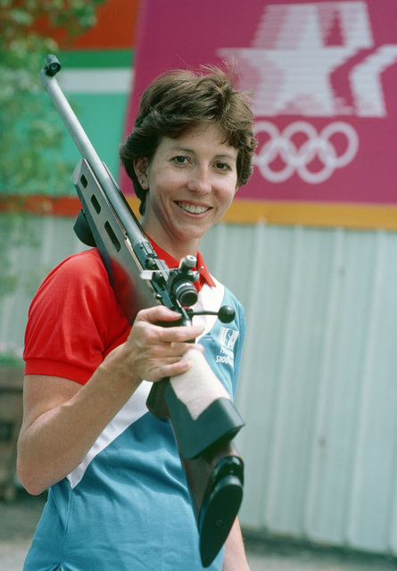 Army Reserve Captain Wanda Jewell, a member of the small-bore rifle team competing at the 1984 Summer Olympics. She won a bronze medal for her performance in the event