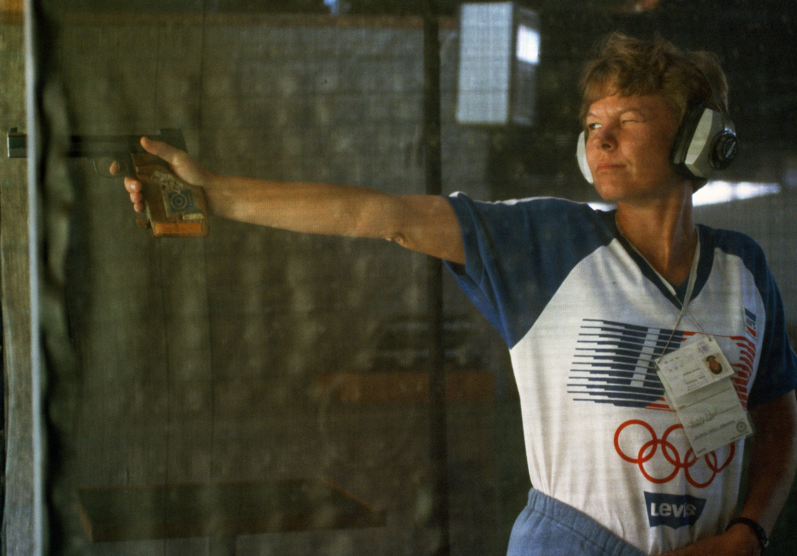 Army Reserve STAFF Sergeant Kim S. Dyer from Hewitt, Texas, participates in the sport pistol competition at the 1984 Summer Olympics