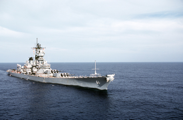 A starboard bow view of the battleship USS IOWA (BB 61) underway off the west coast of Central America