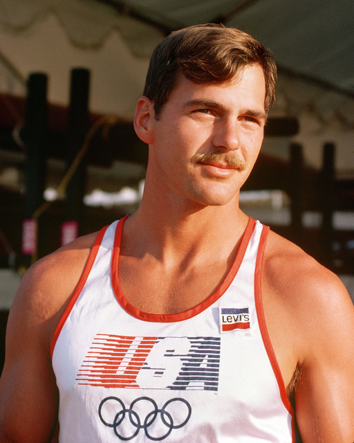 Army Captain David L. Gilman from Oakland Army Base, California, a member of the kayak team competing at the 1984 Summer Olympics