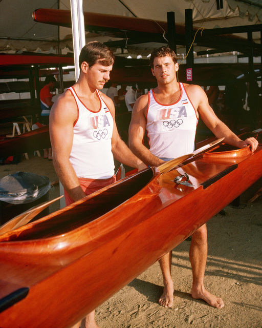 Army Captain David L. Gilman, left, from Oakland Army Base, California, and Army National Guard Private First Class Daniel W. Schnurrenberger, members of the kayak team competing at the 1984 Summer Olympics