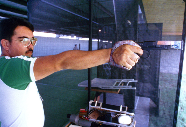 Army Captain John T. McNally from Fort Benning, Georgia, participates in the shooting competition at the 1984 Summer Olympics