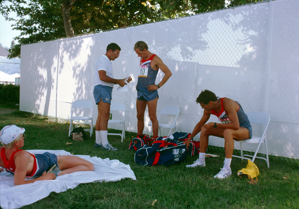 Army Colonel Johnny P. Lingo, white shirt, the modern pentathlon team manager, talks with a team member during the 1984 Summer Olympics