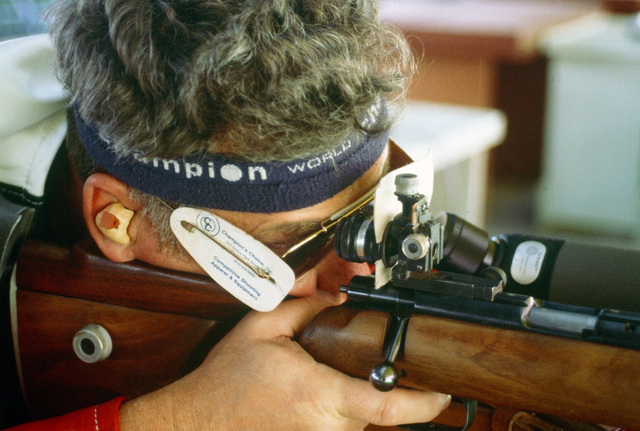 Army Lieuteant Colonel Donald C. Durbin from Louisville, Kentucky, practices for the prone rifle competition at the 1984 Summer Olympics