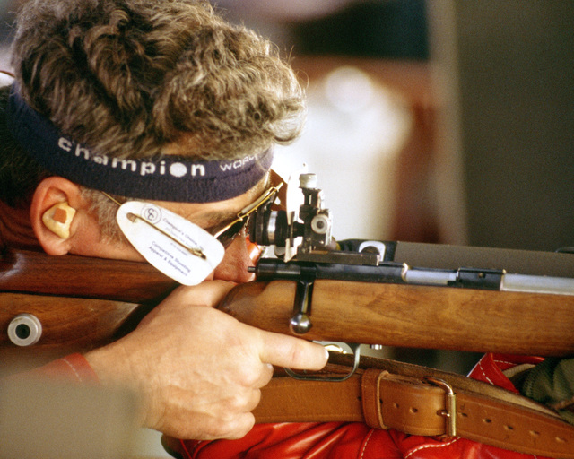 Army Lieutenant Colonel Donald Durbin from Louisville, Kentucky, participates in the prone rifle competition at the 1984 Summer Olympics