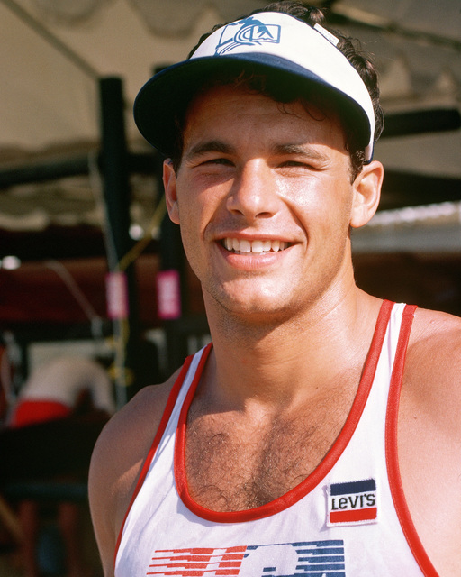 Army National Guard Private First Class Daniel W. Schnurrenberger from Newport Beach, California, a member of the kayak team competing at the 1984 Summer Olympics