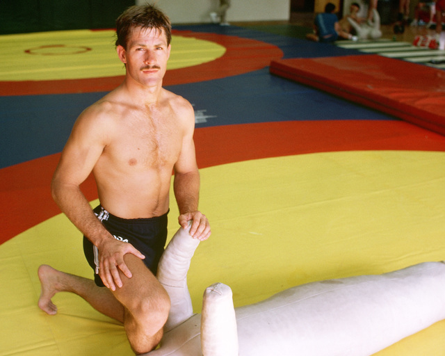 David Butler, US Navy, a member of the wrestling team competing at the 1984 Summer Olympics