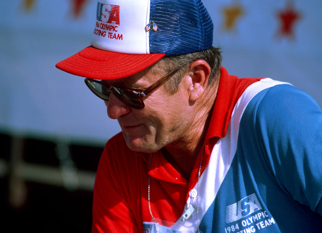 Retired Colonel Jack Vincent, US Army, assistant manager of the shooting team competing at the 1984 Summer Olympics