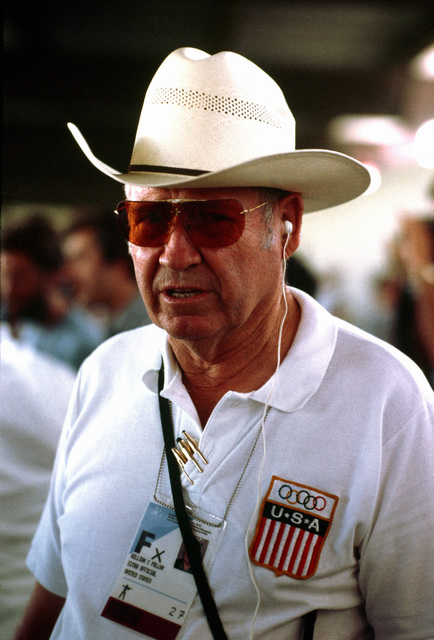 Retired Lieutenant Colonel William Pullum, US Army, a rifle coach for the shooting team competing at the 1984 Summer Olympics