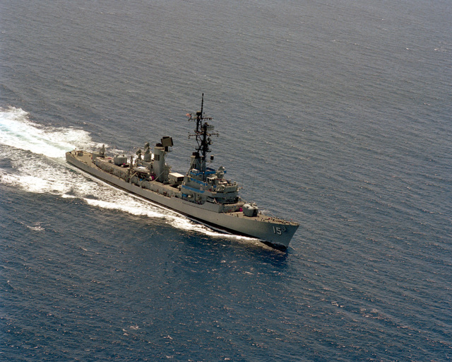 Aerial starboard bow view of the Charles F. Adams class guided missile destroyer USS BERKELEY (DDG 15) underway