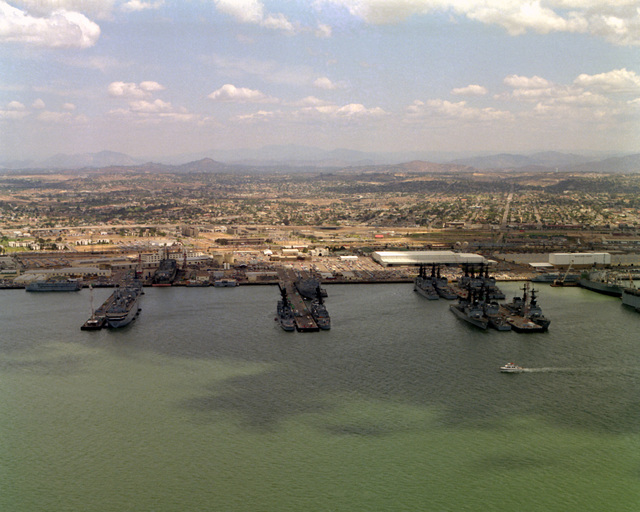 An aerial view of Naval Base, San Diego