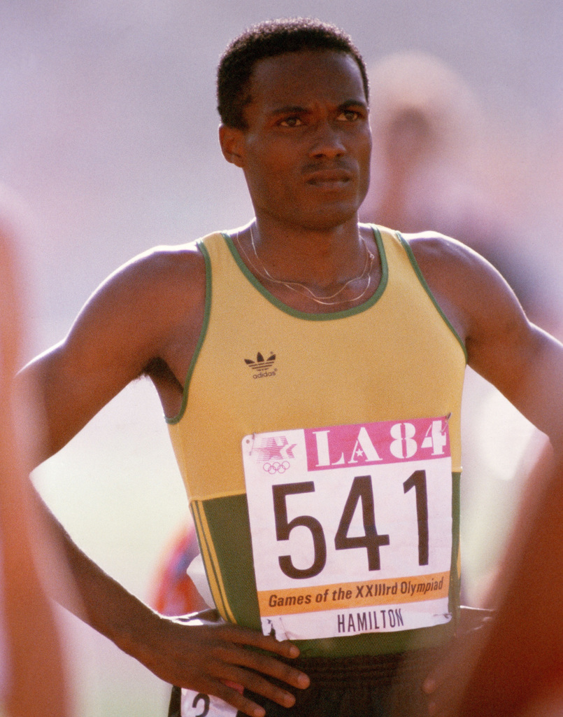 AIRMAN 1ST Class Owen Hamilton from Wright-Patterson Air Force Base, Ohio, is a representative of the Jamaican track and field team competing at the 1984 Summer Olympics