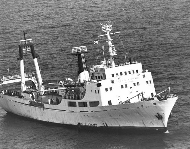A starboard bow view of a Cuban intelligence collector (AGI) Isla De La Juventud. (SUBSTANDARD)