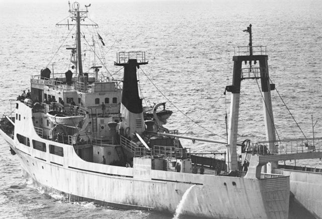 Port quarter view of a Cuban intelligence collector (AGI) Isla De La Juventud