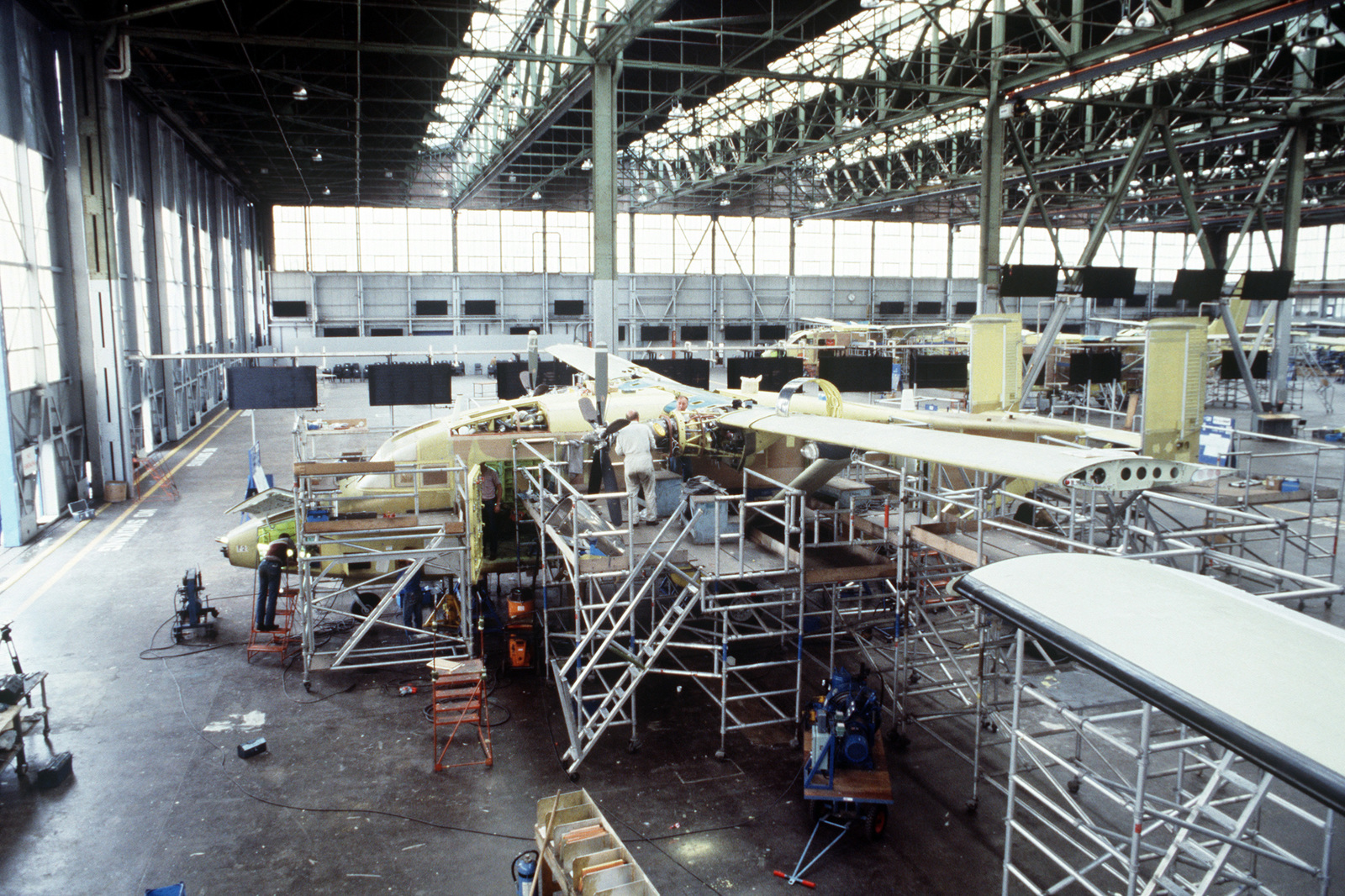Workers build C-23A Sherpa aircraft at the Short Brothers Belfast aerospace complex. A total of 18 C-23As will be completed for use by the US Air Force and the Royal Air Force