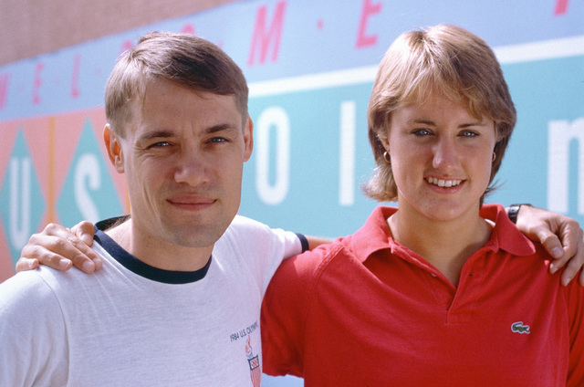 Army Reserve First Lieutenant John Moreau, left and Susan Rapp, daughter of Army Colonel Edward G. Rapp are members of the US Olympic Team competing at the 1984 Summer Olympics. Moreau is on the swimming team