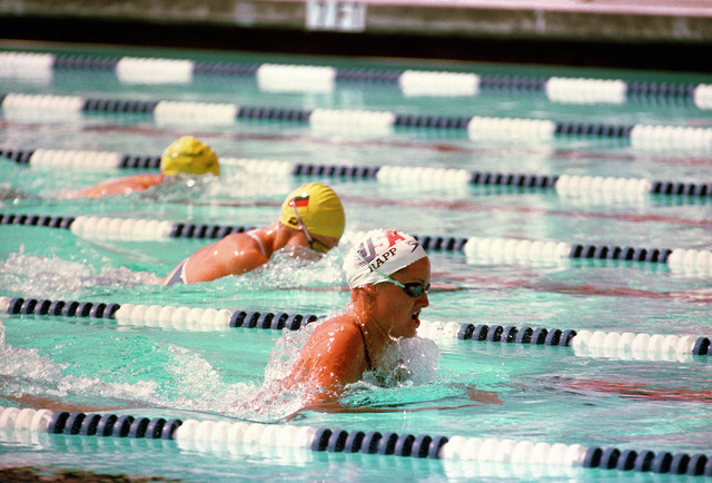 Susan Rapp, the daughter of Army Colonel Edward G. Rapp, competes in a swimming event at the 1984 Summer Olympics
