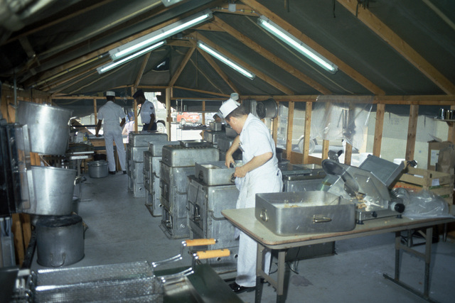 A field kitchen at the 485th Tactical Missile Wing facility