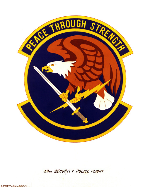 Official emblem for the 39th Security Police Flight