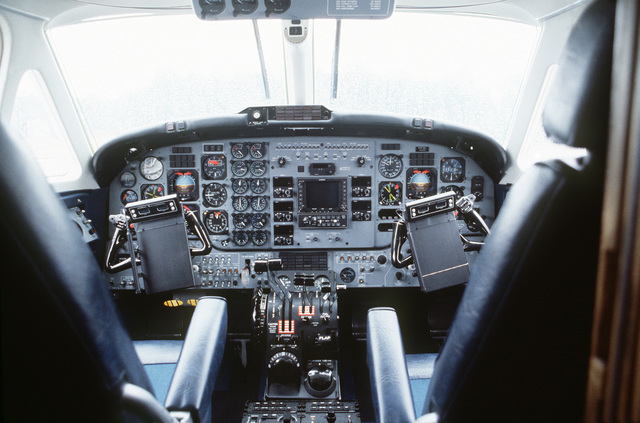 A view of the cockpit of a C-12F aircraft. The C-12 and the C-21 aircraft will replace the T-39 Saberliner