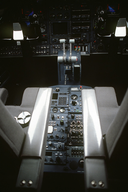 A view of the cockpit of a C-21A aircraft. The C-12 and the C-21 aircraft will replace the T-39 Saberliner