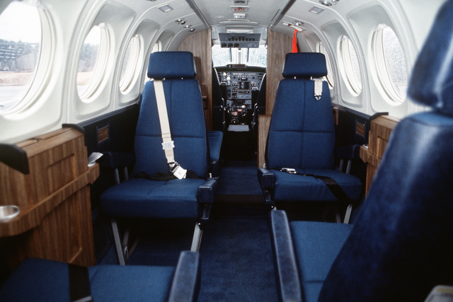 An interior view of a C-12F aircraft. The C-12 and the C-21 aircraft will replace the T-39 Saberliner