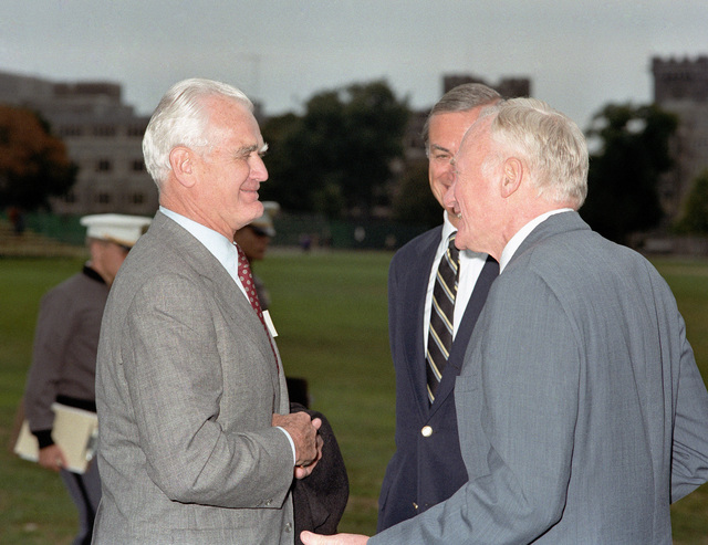 "Former Secretary of the Army (1965-1971) Stanley R. Resor, right, speaks with former Army CHIEF of STAFF (1968-1972) General W. C. Westmoreland (ret.) at the United States Military Academy. Mr Resor is the recipient of this year's Thayer award which recognizes citizens whose services and accomplishments best exemplify the academy's motto - ""Duty, Honor, Country."""