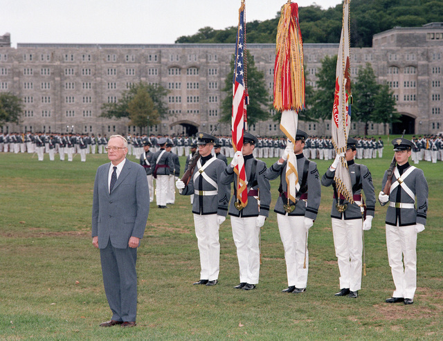 "Former Secretary of the Army (1965-1971) Stanley Resor, is on the plain with the corps of cadets at the US Military Academy. Mr. Resor is this year's recipient of the Thayer award which is presented to citizens whose services and accomplishments best exemplify the academy's motto - ""Duty, Honor, Country."""