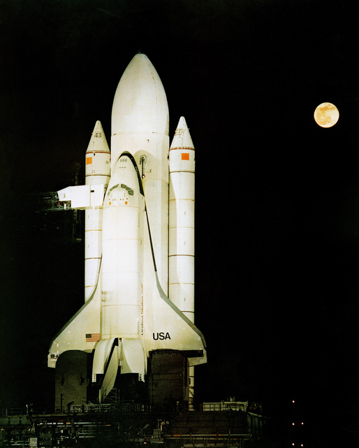 The space shuttle Columbia (OV-102) on the launch pad