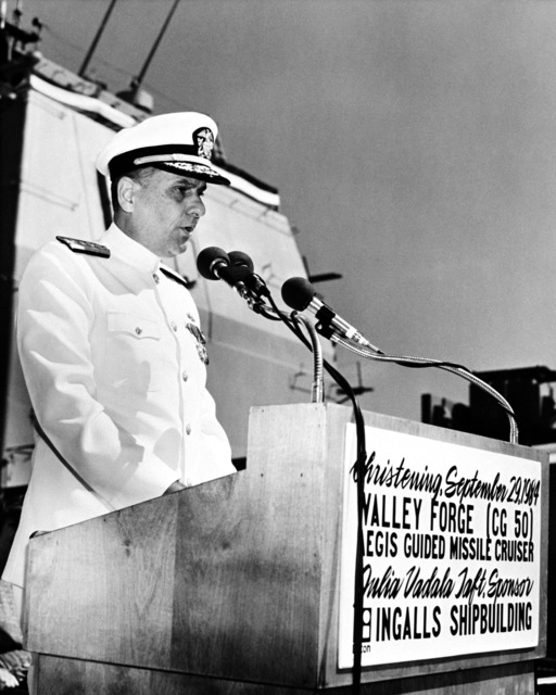 Rear Admiral Donald P. Roane, program manager, Aegis Shipbuilding, Naval Sea Systems Command, speaks during the christening ceremony for the Aegis guided missile cruiser USS VALLEY FORGE (CG 50)
