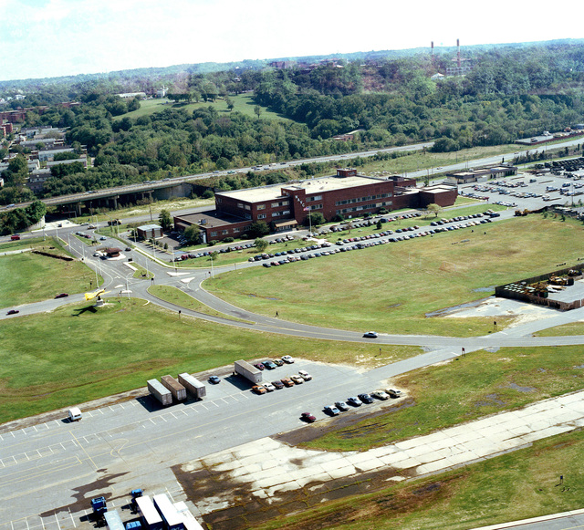 An aerial view of the Naval Audiovisual Center building at Anacostia Naval Station
