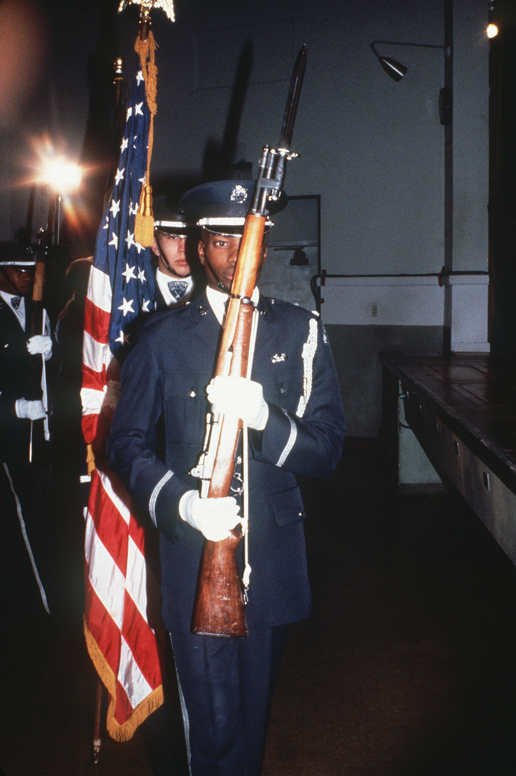 The drill team, armed with M1 rifles, participates in the 1984 Peacekeeper Challenge. The annual competition tests security police in various areas of base defense. (SUBSTANDARD)