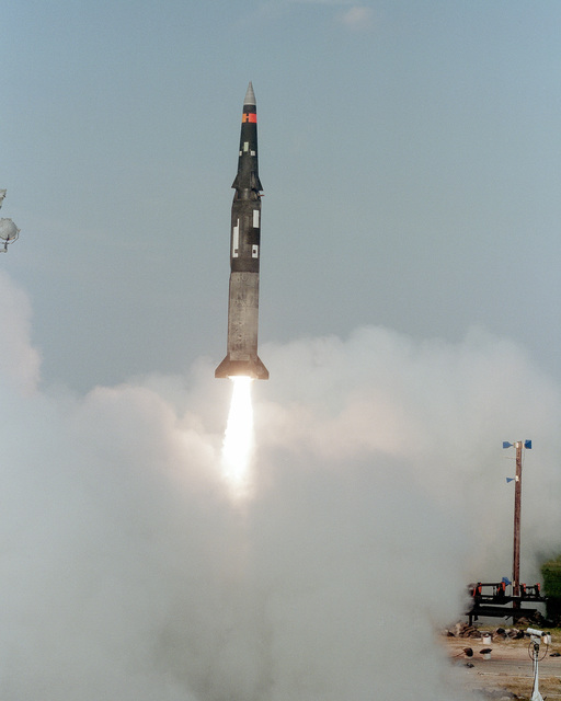 A Pershing II missile is launched from Complex 16
