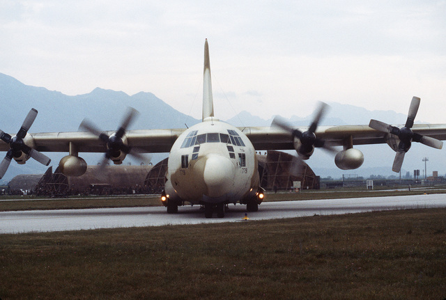 A C-130 Hercules aircraft arrives at the air base during an operational readiness exercise