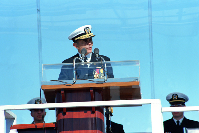 Admiral Kinnaird R. Mckee, Deputy Commander for Nuclear Propulsion, Naval Sea Systems Command, speaks during the commissioning ceremony for the Ohio class nuclear-powered strategic missile submarine USS HENRY M. JACKSON (SSBN 730)