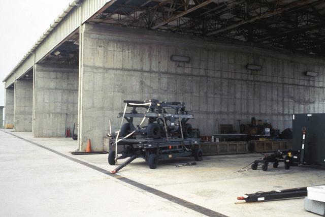Ground support equipment in the flight line storage area