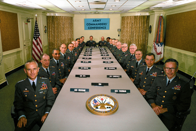 Officers attend the 1984 Army Commanders Conference. See master caption for names of individuals. Note: MASTER caption filed with negative